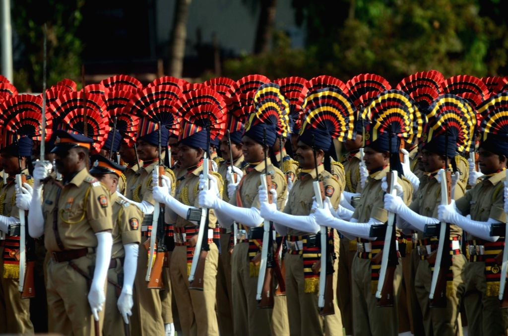 Guard of Honour during Maharashtra Foundation day at Shivaji Park, in Mumbai's Dadar, on May 1, 2019.