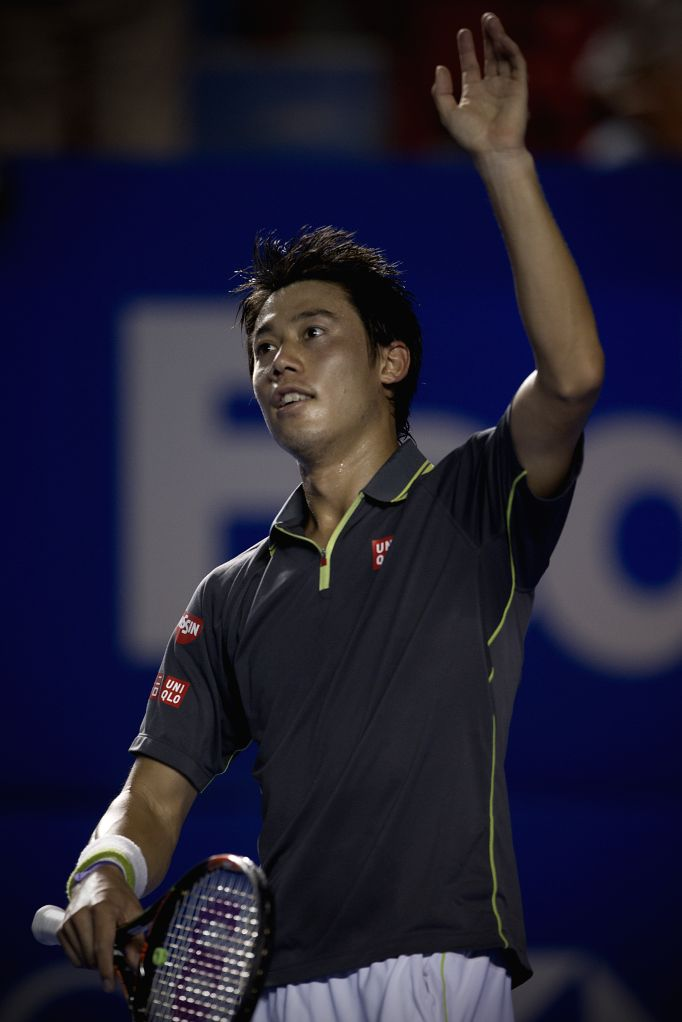 Japan's Kei Nishikori reacts after winning the men's single semifinal match of the Mexican Tennis Open 2015 torunament against South Africa's Kevin Anderson in ...
