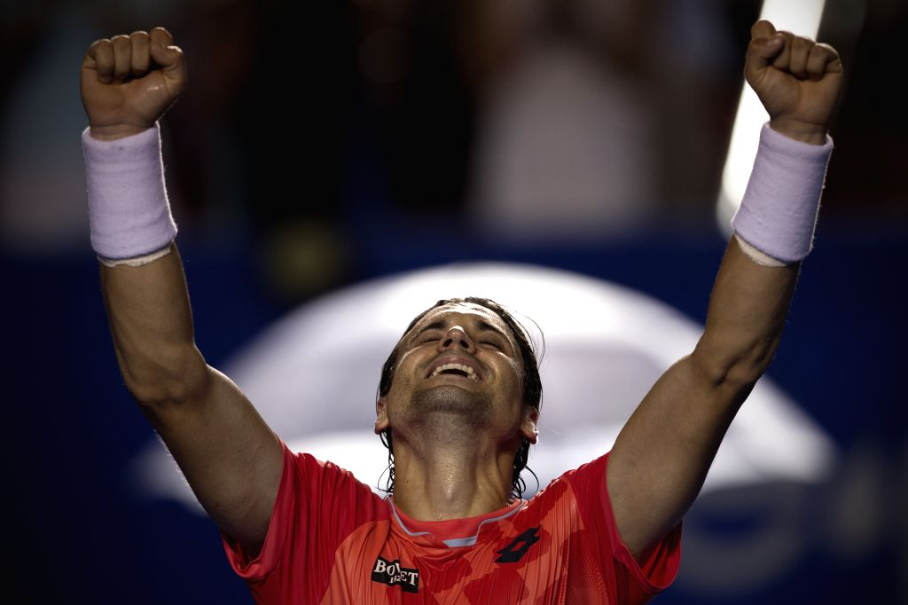 Spain's David Ferrer reacts after winning the men's single semifinal of the Mexican Tennis Open 2015 torunament, against Ryan Harrison of the U.S. in Acapulco, of ...