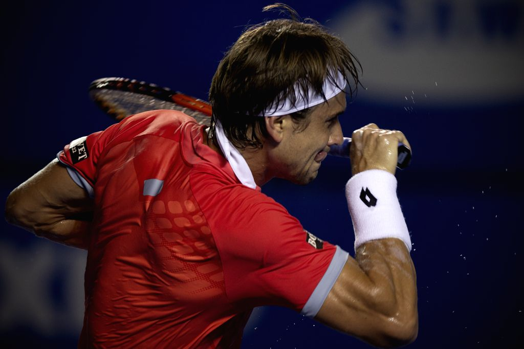 Spain's David Ferrer reacts during the men's single semifinal of the Mexican Tennis Open 2015 torunament, against Ryan Harrison of the U.S. in Acapulco, of ...