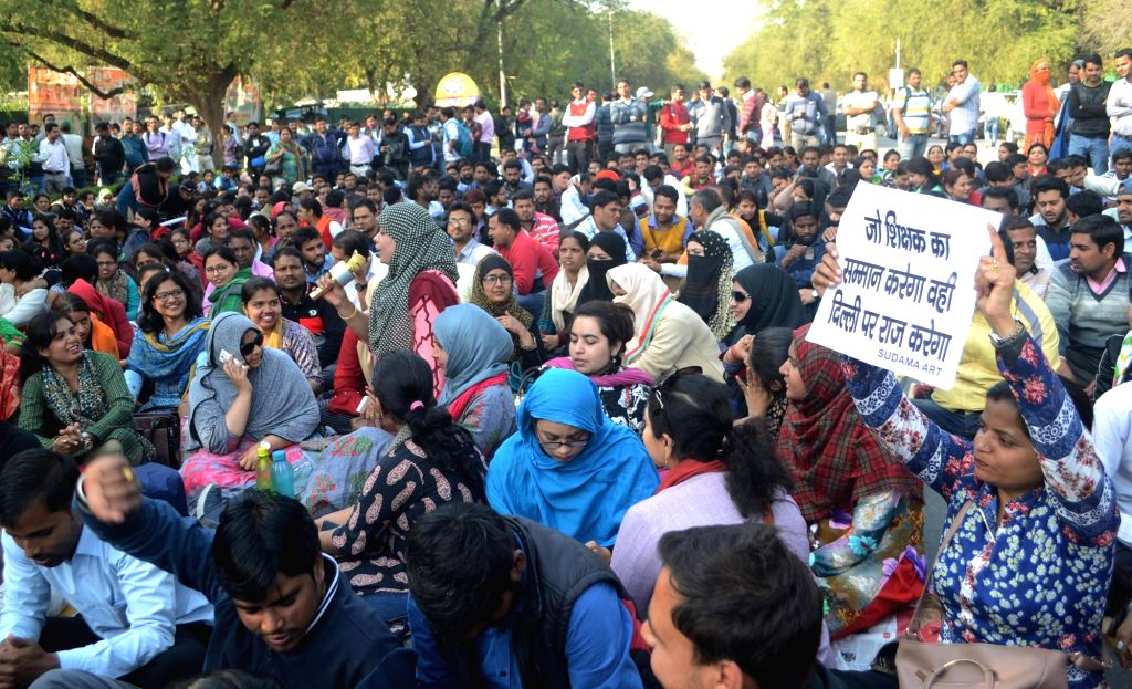 Guest teachers stage a demonstration to press for their demands in New Delhi, on March 9, 2019.