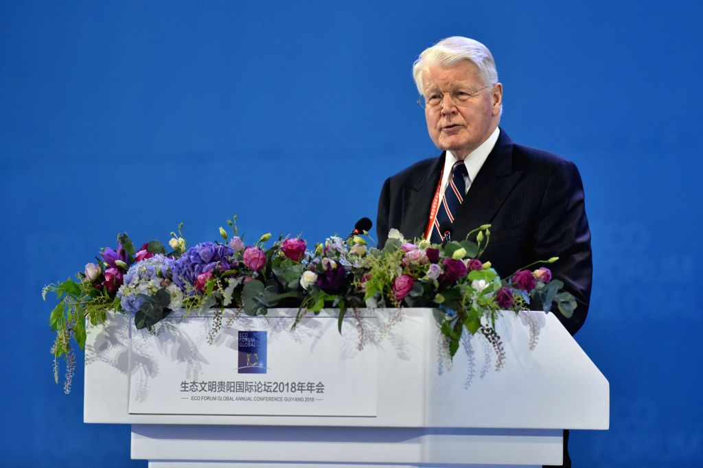 GUIYANG, July 7, 2018 - Former Iceland's President Olafur Ragnar Grimsson speaks at the opening ceremony of the Eco Forum Global Annual Conference Guiyang 2018 held in Guiyang, capital of southwest ...