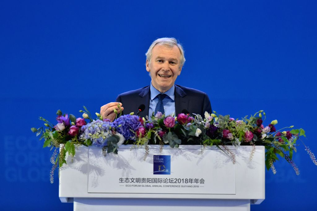 GUIYANG, July 7, 2018 - Former Prime Minister of Belgium Yves Leterme speaks at the opening ceremony of the Eco Forum Global Annual Conference Guiyang 2018 held in Guiyang, capital of southwest ...