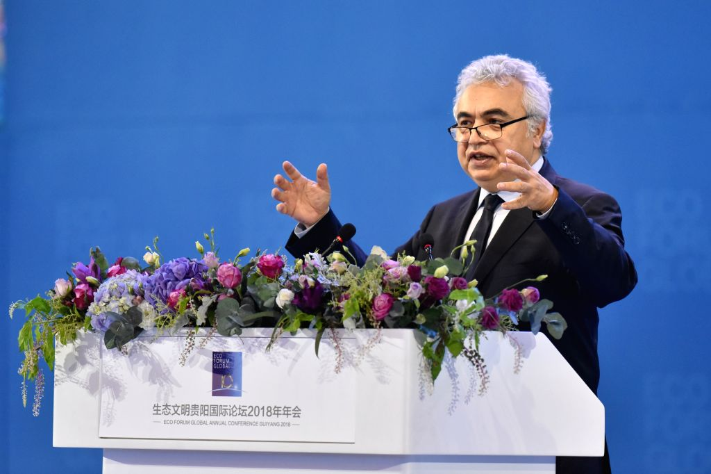 GUIYANG, July 7, 2018 (Xinhua) -- International Energy Agency Executive Director Fatih Birol speaks at the opening ceremony of the Eco Forum Global Annual Conference Guiyang 2018 held in Guiyang, capital of southwest China's Guizhou Province, July 7,