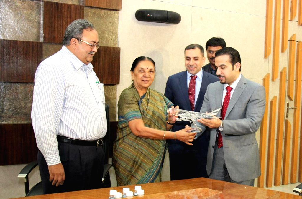 Gujarat Chief Minister Anandiben Patel during a meeting with Sheikh Majid Al Mualla, Emirates' Divisional Senior Vice President, Commercial Operations, Centre in Gandhinagar on Sept 10, 2014. - Anandiben Patel