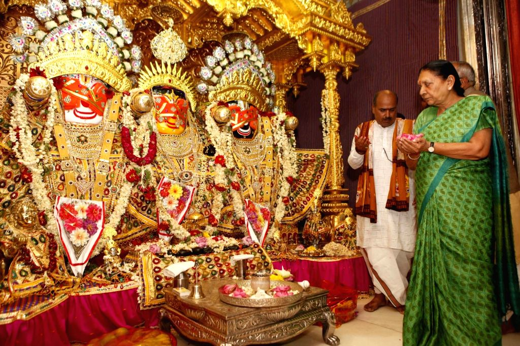 Gujarat Chief Minister Anandiben Patel worships Lord Jagannath on the eve of Rath Yatra in Ahmedabad, on July 5, 2016. - Anandiben Patel