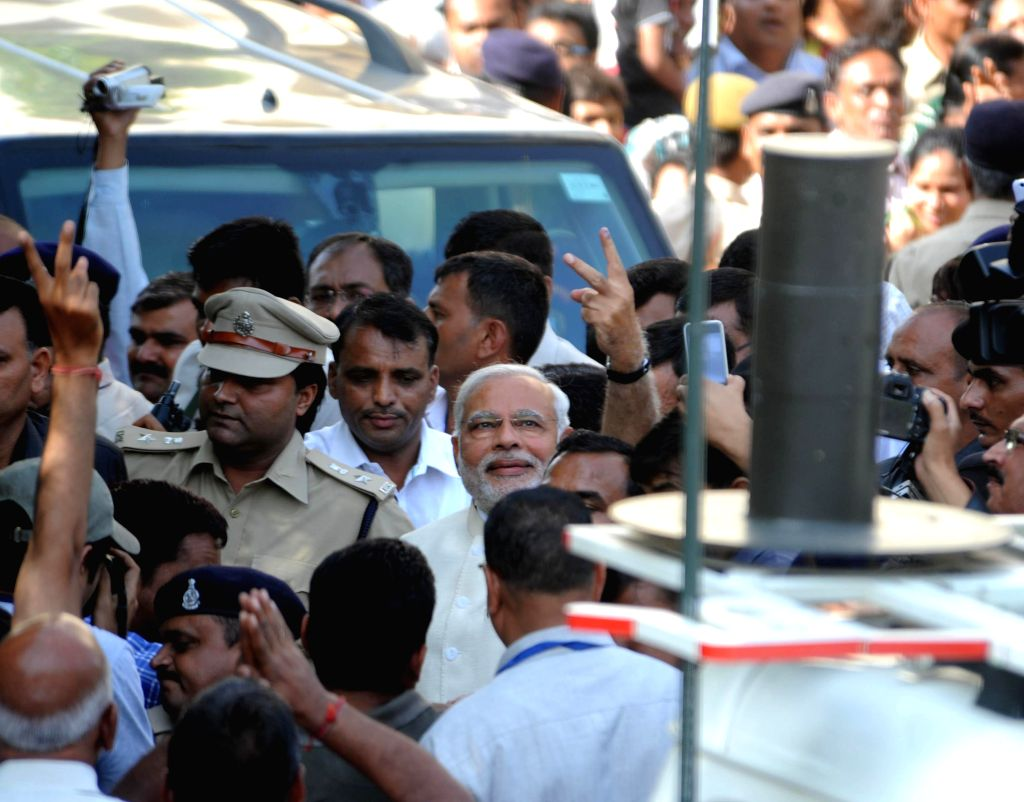 Gujarat Chief Minister and BJP prime ministerial candidate Narendra Modi after casting his vote at Ranip in Ahmedabad on April 30, 2014.