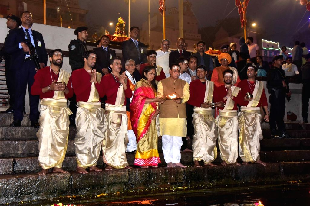 Gujarat Chief Minister Vijay Rupani performs Ganga 'Aarti' in Varanasi, on Feb 7, 2019. - Vijay Rupani