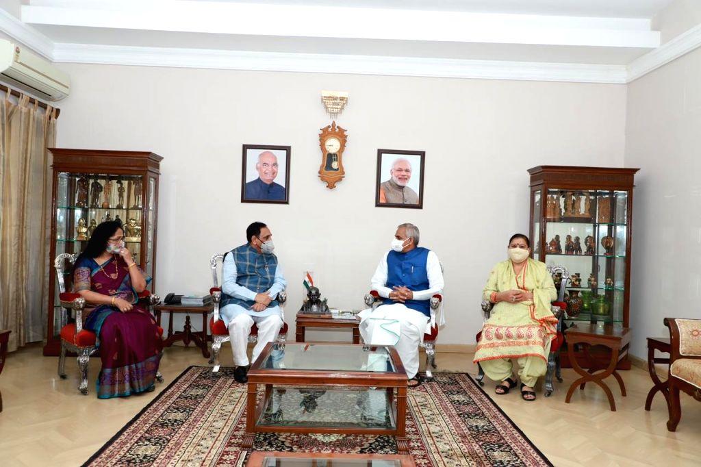 Gujarat CM Rupani visit of Gujarat governor Devvrat.