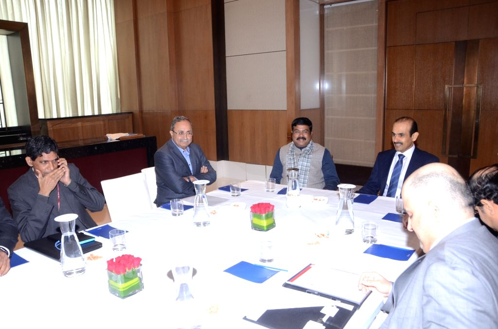 Gujarat Energy Minister Saurabh Patel meets Union Petroleum and Natural Gas and Steel Minister Dharmendra Pradhan in New Delhi on Jan 27, 2020. - Saurabh Patel