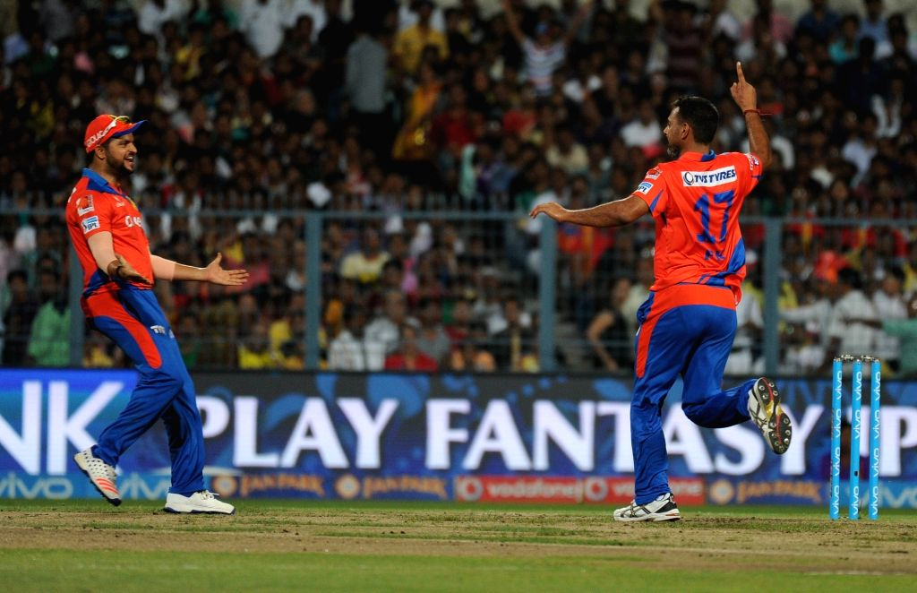 Gujarat Lions celebrate fall of a wicket during an IPL match between Kolkata Knight Riders and Gujarat Lions at Eden Gardens in Kolkata, on May 8, 2016.