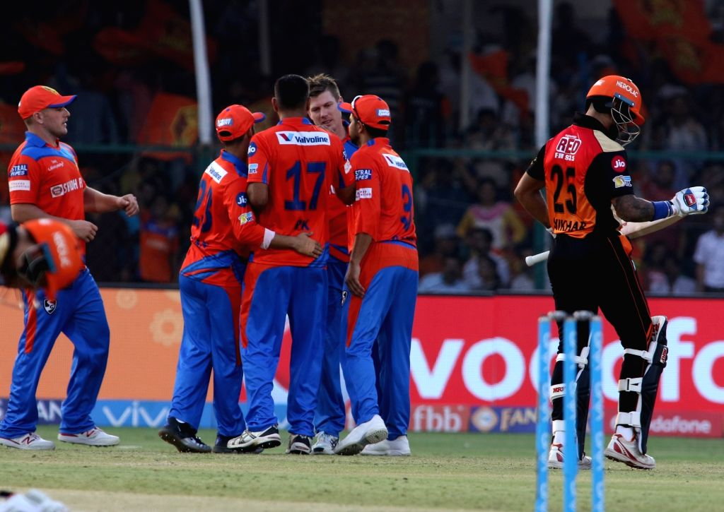 Gujarat Lions celebrate fall of Shikhar Dhawan's wicket during an IPL 2017 match between Gujarat Lions and Sunrisers Hyderabad at Green Park in Kanpur on May 13, 2017.