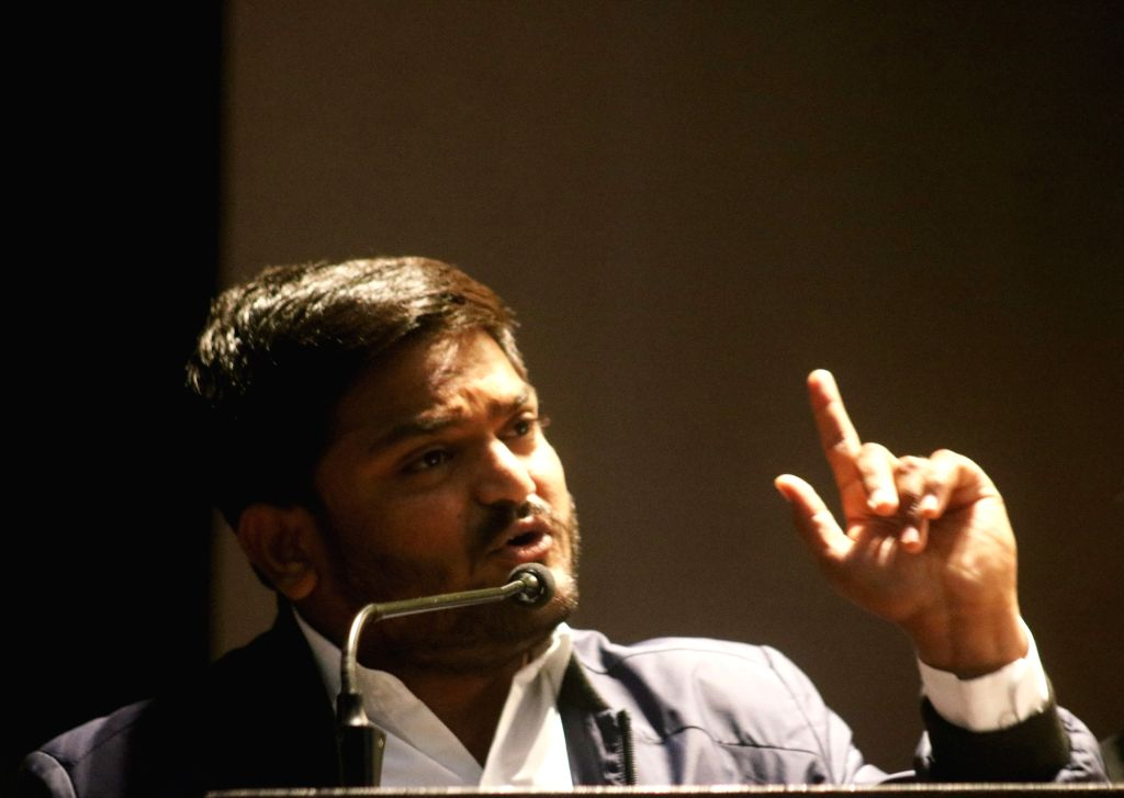 Gujarat Patidar leader Hardik Patel addresses during Yuva Adhikar Sammelan in New Delhi on Feb 12, 2019. - Hardik Patel