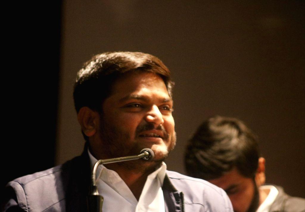 Gujarat Patidar leader Hardik Patel addresses during Yuva Adhikar Sammelan in New Delhi on Feb 12, 2019. - Hardik Patel