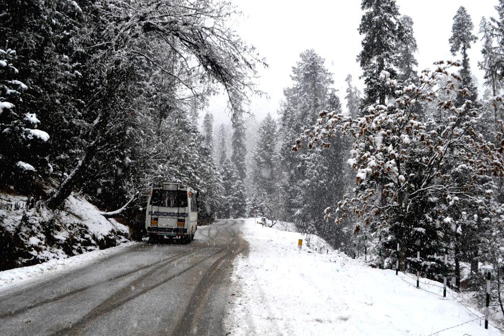 Gulmarg receives fresh snowfall on Dec 10, 2015.