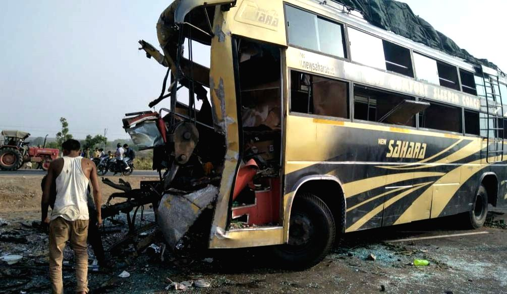 Guna (Madhya Pradesh): The mangled remains of a bus that crashed into a stationary truck reportedly killing 10 persons in Madhya Pradesh's Guna district on May 21, 2018.