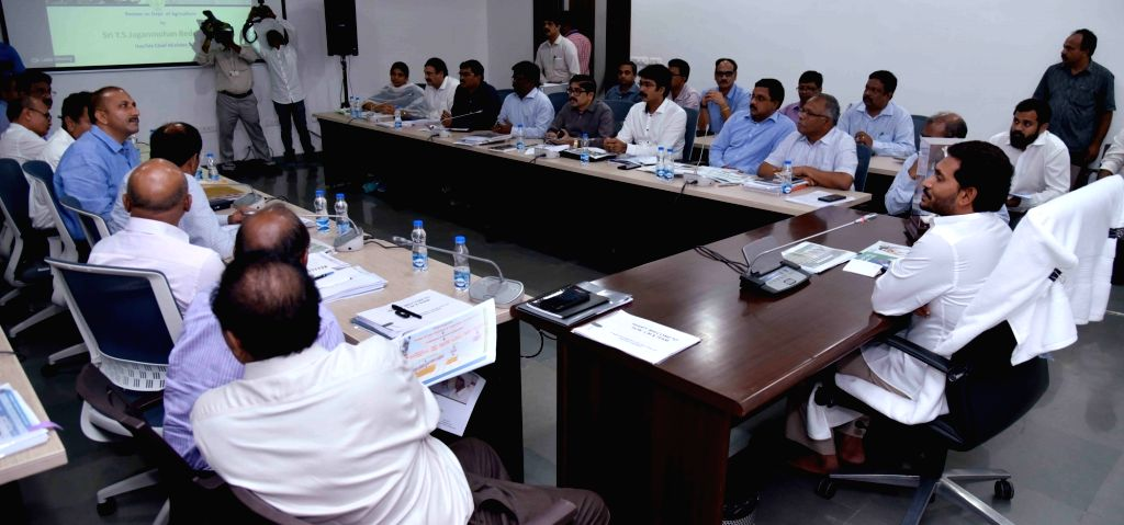 Guntur: Andhra Pradesh Chief Minister Y. S. Jagan Mohan Reddy chairs a review meeting of the Irrigation department, at Tadepalli in Guntur district of Andhra Pradesh, on June 6, 2019. (Photo: IANS) - Y. S. Jagan Mohan Reddy