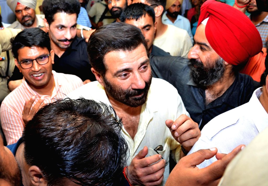 Gurdaspur BJP MP Sunny Deol arrives to meet the victims of factory blast receiving treatment at a Batala hospital, on Sep 5, 2019. At least 21 people were killed and 26 injured in an ...