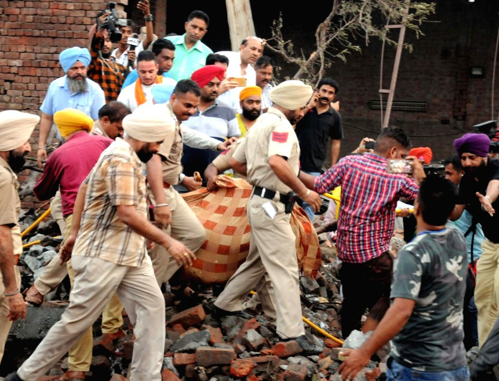 Gurdaspur: Rescue operations underway at the site of a blast at an unauthorized firecracker factory in a residential in Batala town of Punjab's Gurdaspur district on Sep 4, 2019. At least 19 people were killed and more than 25 injured in the blast. (