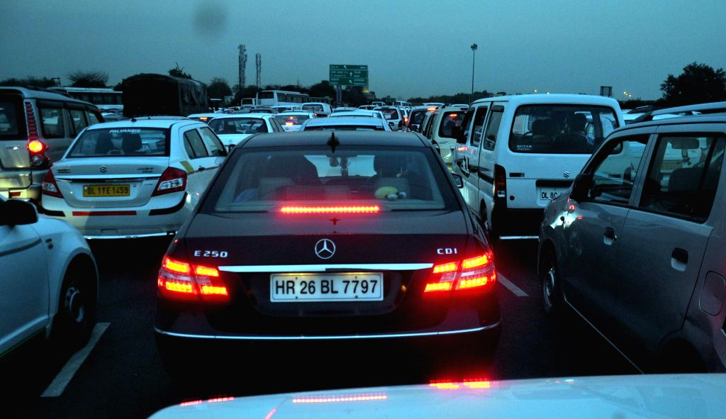 A view of a traffic jam on National Highway-8 in Gurgaon, on April 29, 2015.