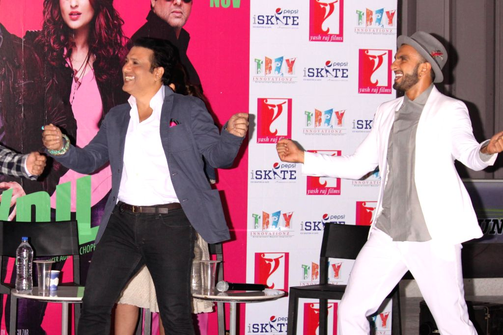 Actors Govinda and Ranveer Singh during a press conference to promote their upcoming film `Kill Dil` in Gurgaon, on Nov 10, 2014. - Govinda and Ranveer Singh