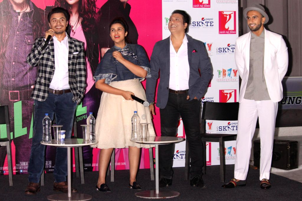 Actors Govinda, Ranveer Singh, Parineeti Chopra and Ali Zafar during a press conference to promote their upcoming film `Kill Dil` in Gurgaon, on Nov 10, 2014. - Govinda, Ranveer Singh, Parineeti Chopra and Ali Zafar