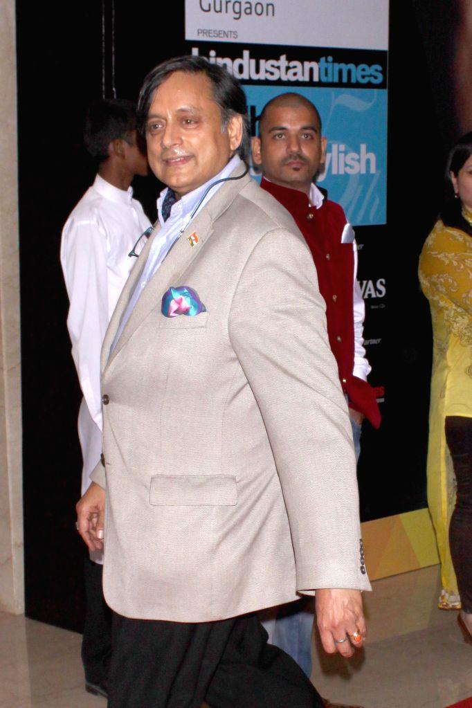 Congress MP Shashi Tharoor during Hindustan Times Delhi`s Most Stylish Awards 2015, held in Gurgaon, on May 2, 2015. - Shashi Tharoor