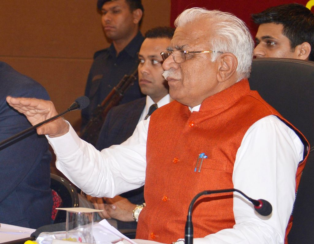 Haryana Chief Minister Manohar Lal Khattar addresses a press conference in Gurgaon on Feb. 4, 2015. - Manohar Lal Khattar