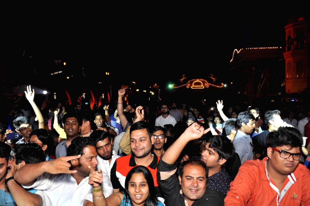 People enjoy themselves during Baisakhi celebrations at Gurgaon`s Kingdom of Dreams.