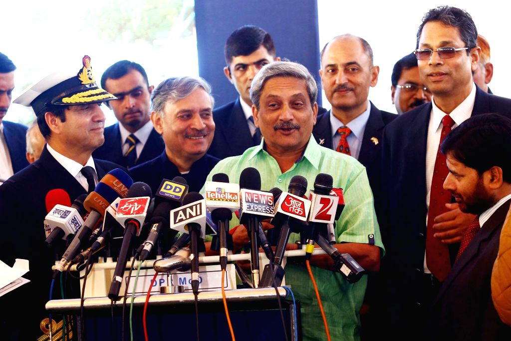 Union Minister for Defence Manohar Parrikar addresses press at the inauguration of the National Command Control Communication and Intelligence (NC3I) network at at the Information Management - Rao Inderjit Singh