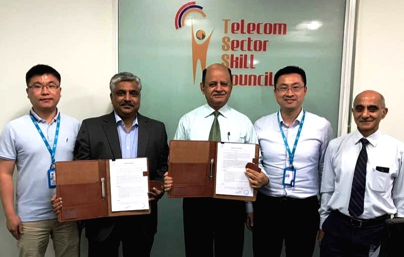 Gurgaon: ZTE Telecom India Private Limited signs an MoU with Telecom Sector Skill (TSSC) in the presence of Business Development Manager PK Jaswal and ZTE Telecom India representative ... - Mukesh Verma