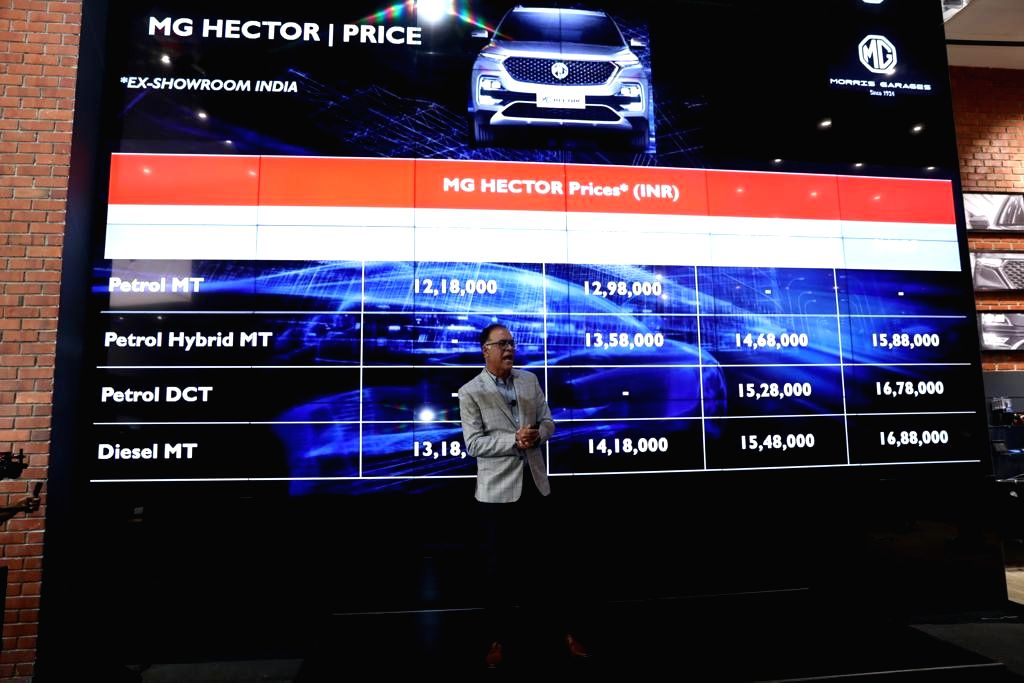 Gurugram: MG (Morris Garages) Motor India launched its first automobile in India -- the hybrid SUV Hector, having an introductory price range of Rs 12.18 lakh to Rs 16.88 lakh (ex-showroom, New Delhi), in Gurugram on June 27, 2019. (Photo: IANS)