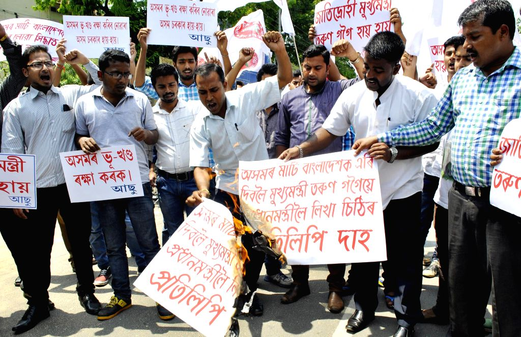 AASU (All Assam Students Union) activists stage a demonstration against Indo-Bangla Land Swap deal in Guwahati on May 5, 2015.