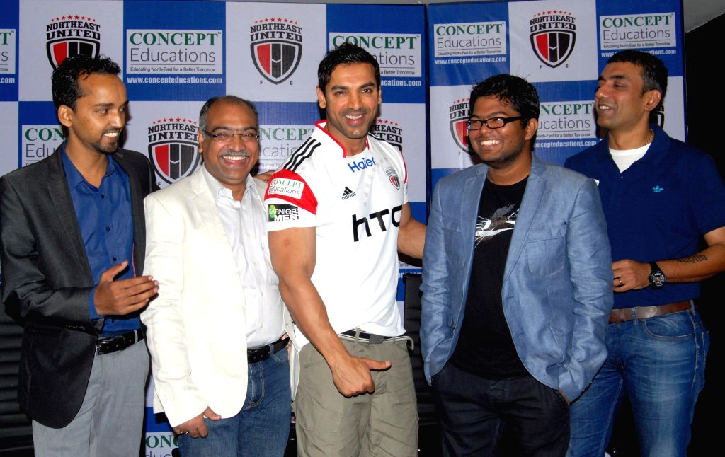 Actor and co-owner of NorthEast United FC at the launch of Concept Education logo in the North East United FC  jersey as it becomes main sponsor of the team in Guwahati, on Nov 16, 2014.