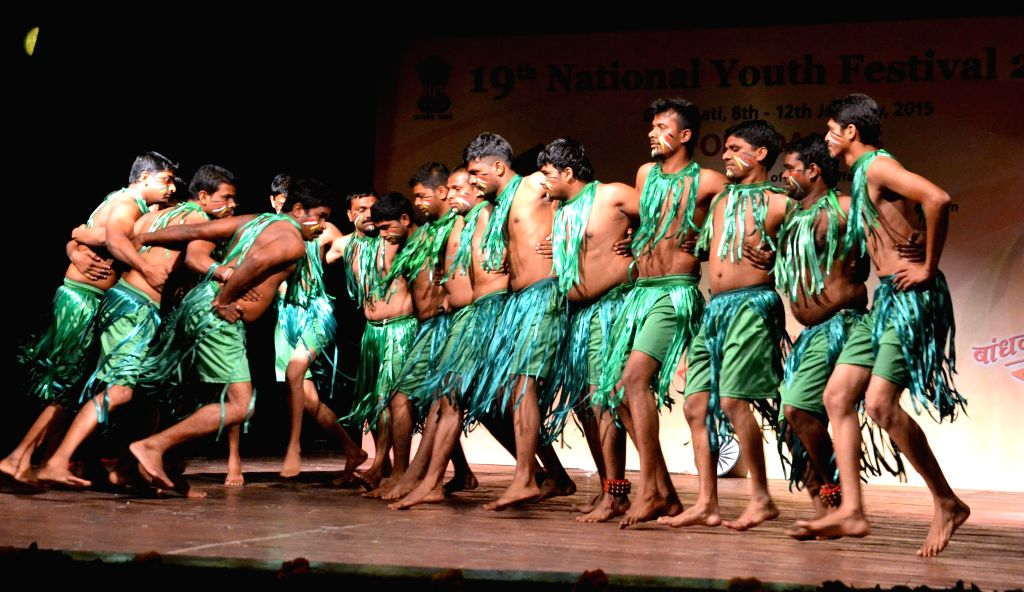 Artists from Daman and Diu perform during the Folk Dance Competition  at the ongoing 19th National Youth Festival 2015 in Guwahati, on Jan 9, 2015.