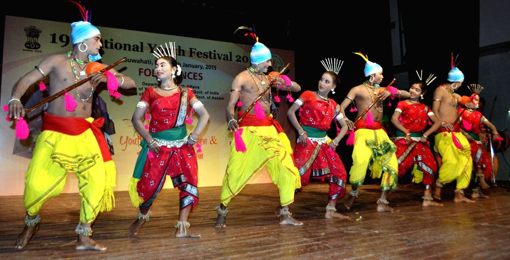 Artists from Odisha perform during the Folk Dance Competition  at the ongoing 19th National Youth Festival 2015 in Guwahati, on Jan 9, 2015.
