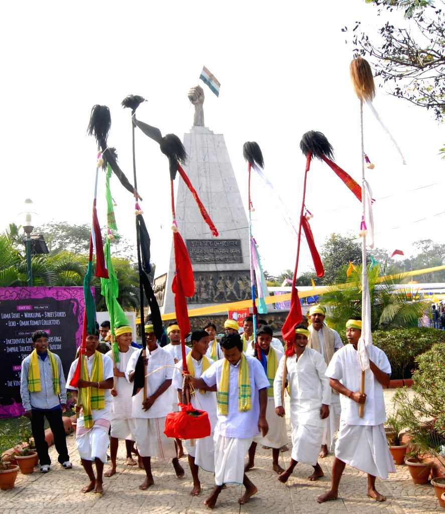 Artists perform traditional dance at the Metropolis Guwahati Festival at the Shradhanjali Kanan in Guwahati, on Jan 10, 2015.