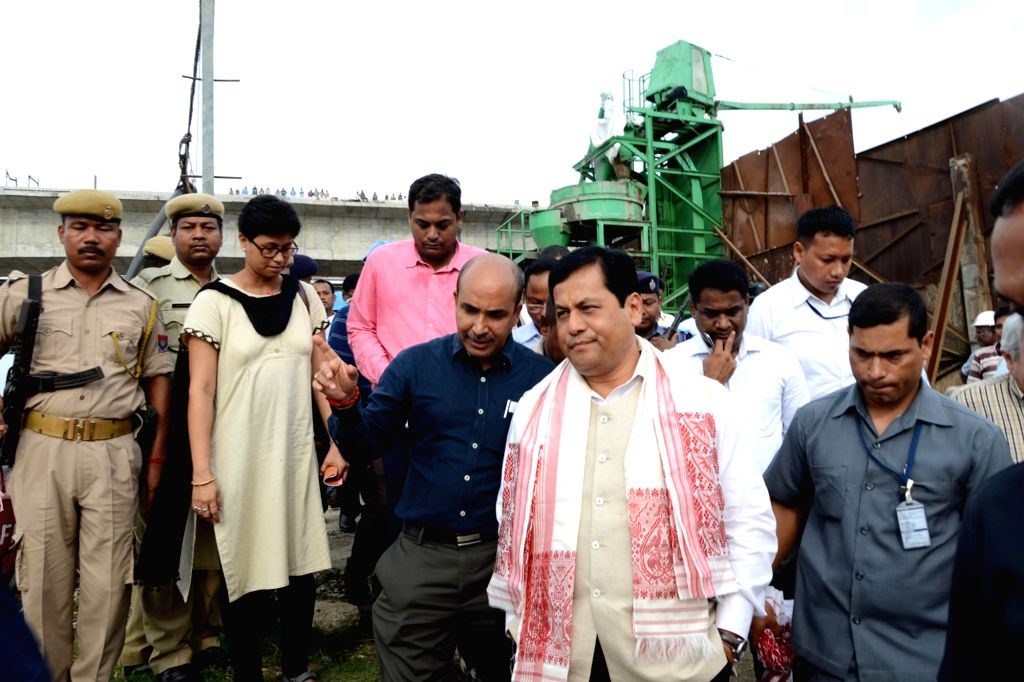Guwahati: Assam Chief Minister Sarbananda Sonowal inspects the progress of construction of the second bridge being built along-side the existing Saraighat Bridge in Guwahati on June 15, 2016. (Photo: IANS) - Sarbananda Sonowal