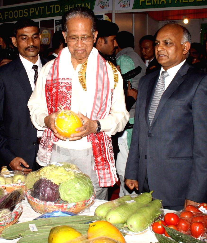 Assam Chief Minister Tarun Gogoi visits 2nd Assam International Agri- Horticultural show in Guwahati on Feb 13, 2015. - Tarun Gogoi