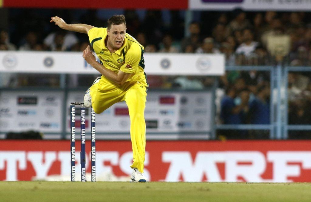 Guwahati: Australia's Jason Behrendorff in action during the second T20 match between India and Australia at Barsapara Cricket Stadium in Guwahati on Oct 10, 2017. (Photo: Surjeet Yadav/IANS) - Surjeet Yadav