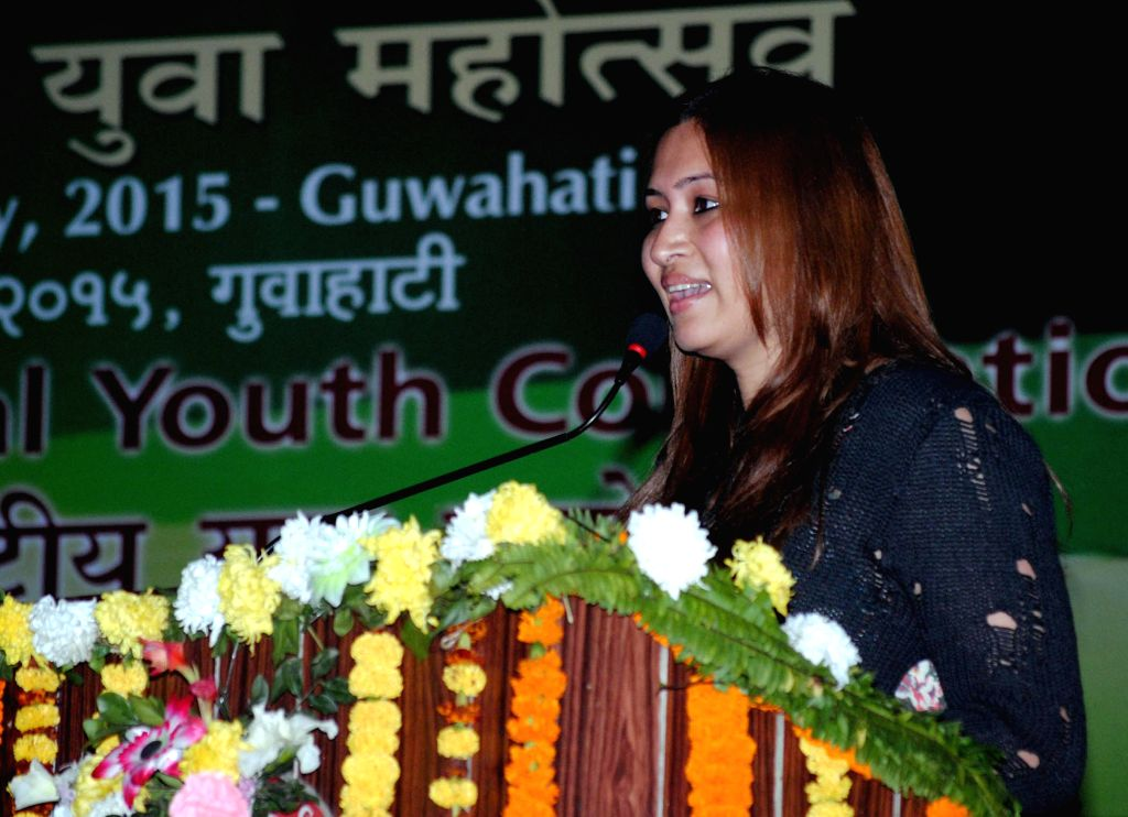 Badminton player Jawala Guta addresses during 19th National Youth Festival 2015 in Guwahati on Jan 11, 2015.