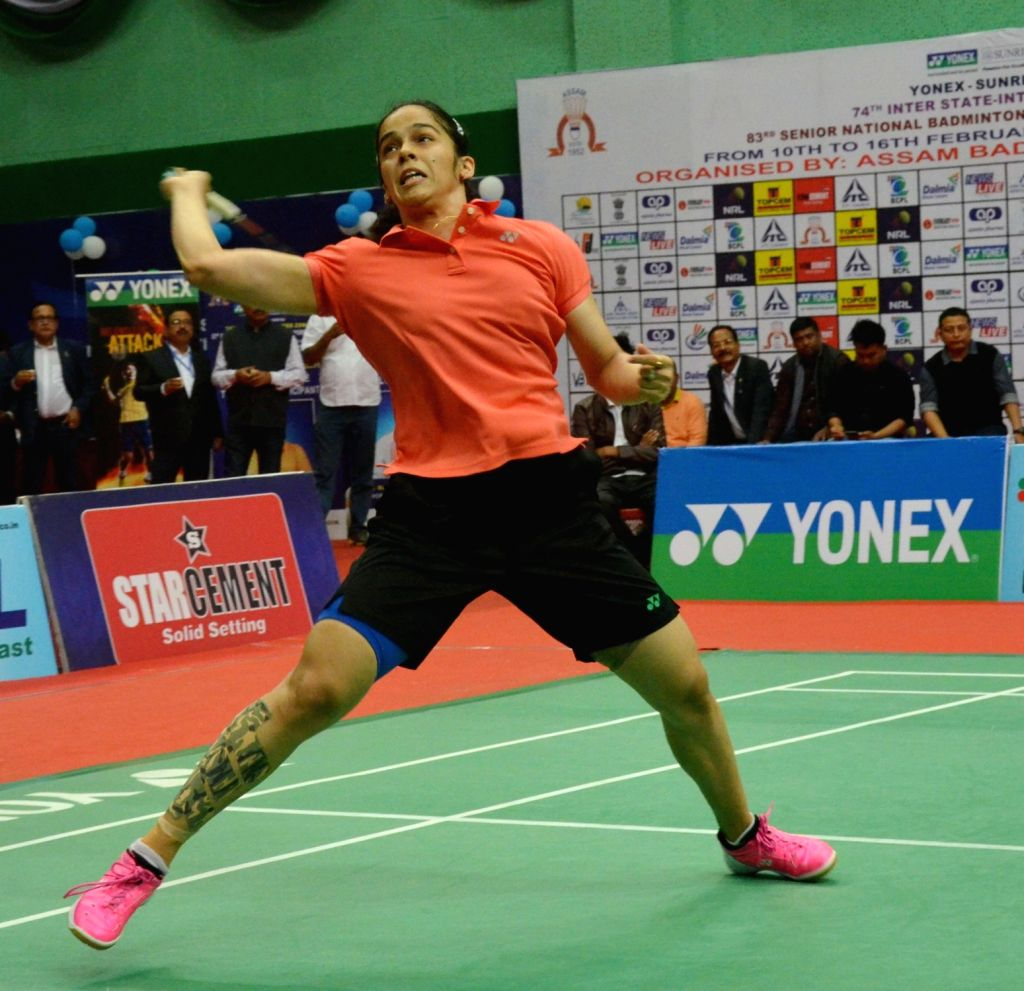 Guwahati: Badminton player Saina Nehwal in action against PV Sindhu during 83rd Senior National Badminton Championship women's final in Guwahati on Feb 16, 2019. (Photo: IANS)