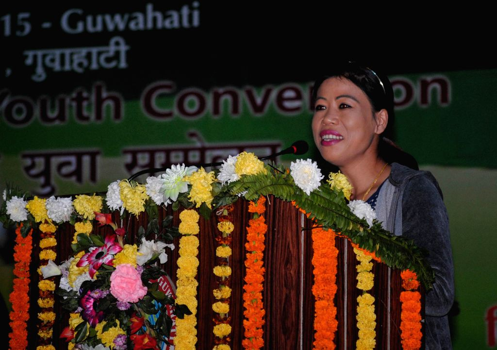 Boxer MC Mary Kom addresses during 19th National Youth Festival 2015  in Guwahati on Jan 11, 2015.