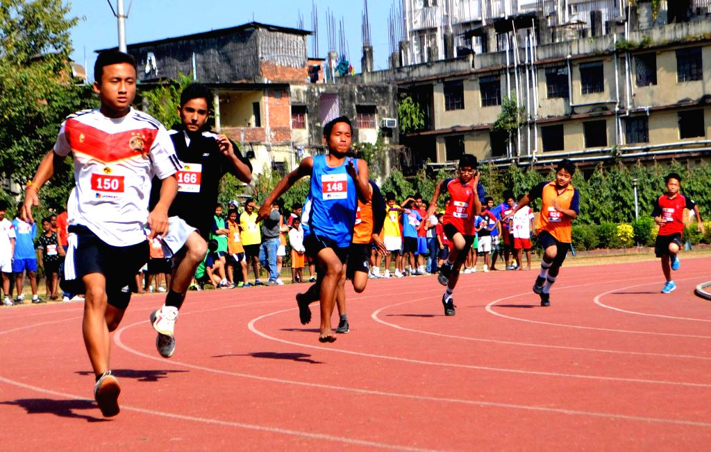 Children participate in Gail- The Fastest Indian talent hunt at SAI field in Guwahati on Dec 4, 2014.