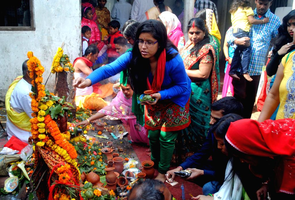 Devotees worship lord Shiva at a Guwahati temple on Mahashivratri on Feb 17, 2015.