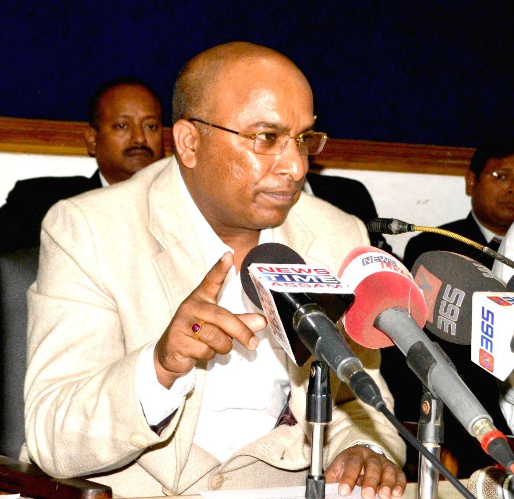 Former additional advocate-general of Assam, Debojit Saikia addresses a press conference regarding his removal at Guwahati Press Club on Dec 1, 2014.
