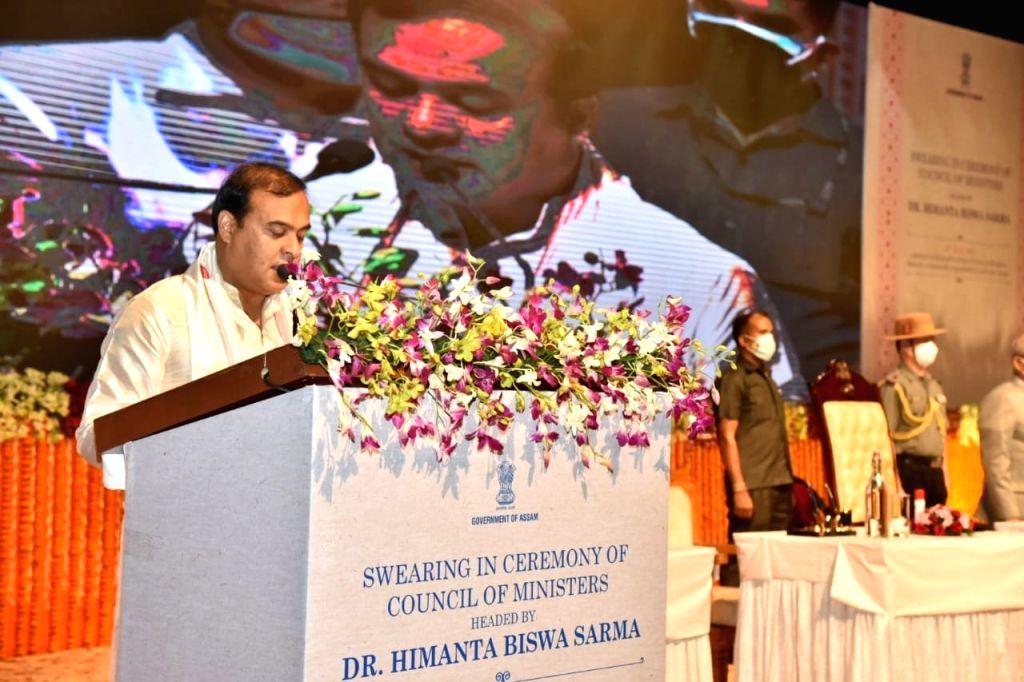 Guwahati: Himanta Biswa Sarma takes oath as Assam CM.(photo: Himanta Biswa Sarma Twitter)