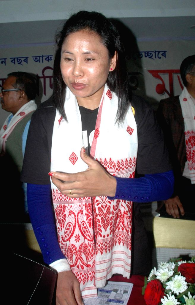Indian boxer L Sarita Devi during an interactation event organised with media in Guwahati on Jan 3, 2015.
