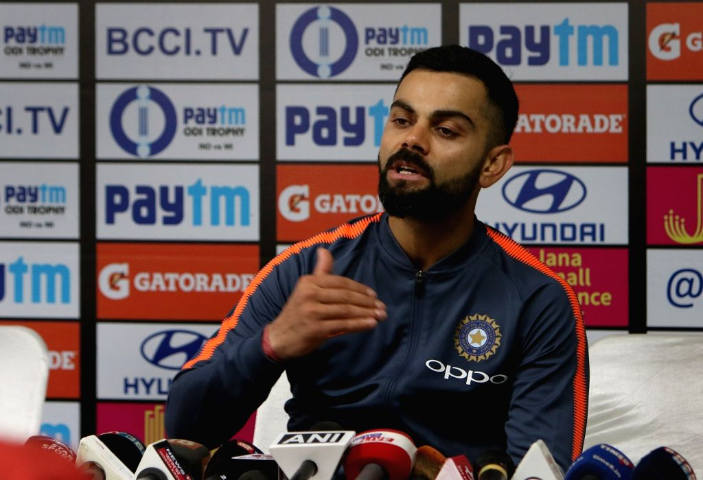 :Guwahati: Indian cricket captain Virat Kohli addresses a press conference during the team's practice session on the eve of first ODI match against West Indies in Guwahati, on Oct 20, 2018. ...