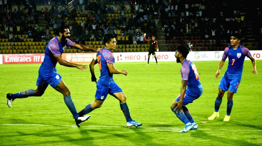 Guwahati: Indian skipper Sunil Chhetri celebrates after scoring a goal during 2022 FIFA World Cup Qualifier match between India and Oman at the Indira Gandhi Athletic Stadium in Guwahati on Sep 5, 2019. (Photo: IANS)